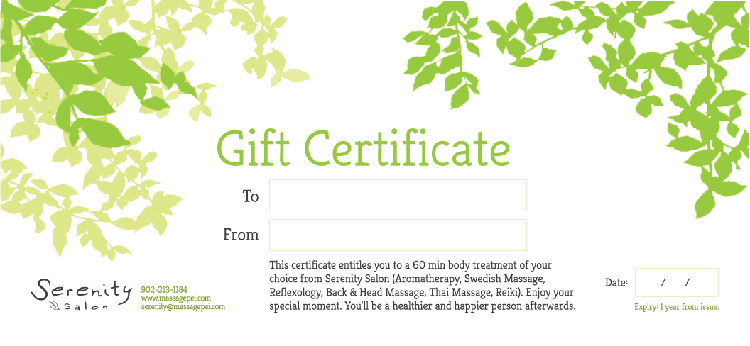 Gift Certificate - 60 Minute Body Treatment