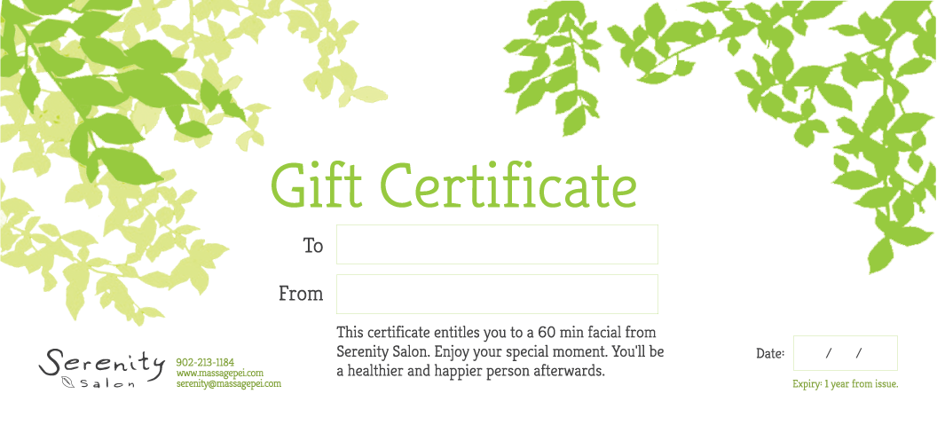 Gift Certificate - 60 Minute Facial Treatment