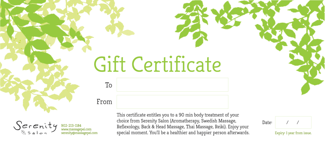 Gift Certificate – 90 Minute Body Treatment