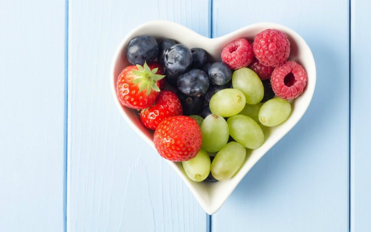 Berries and Grapes in Heart Shaped Bowl